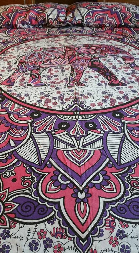 Elephant in Garden duvet set duvet cover set|boho duvet set|Hippie Bedding|elephant bedding set|Bohemian Bedding|Cotton bedding set