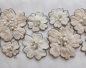 Hand-made trim with twisted thread flowers and pearls