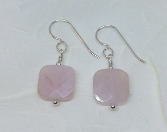 Large Faceted Rose Quartz Gemstone Bead Sterling Silver Dangle Earrings