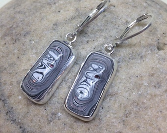 Fordite Sterling Silver Leverback Dangle Earrings, Detroit Agate, Motor City Agate, Custom Handmade Rectangle Drop Earrings