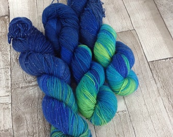 Hand dyed sock/DK yarn/4 ply/ 'Islands in the stream' superwash merino/nylon /stellina /double knitting wool/crochet yarn wool