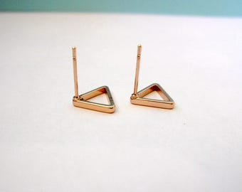SALE: Hollow Triangle Studs, Rose Gold, 9.5mmx9.5mm,
