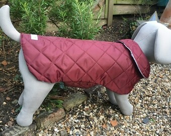 Maroon Quilted Water Resistant Dog Coat