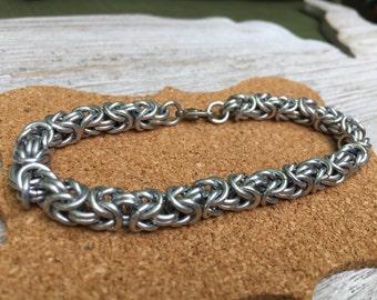 Byzantine Chainmail Bracelet Silver Color