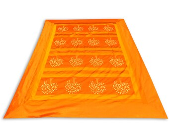 Indian Silk Embroidery Tree Design Orange Color Double Bed Cover 260x240 CM