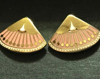 Pink, White, and Golden Laurel Burch Earrings signed Catherine