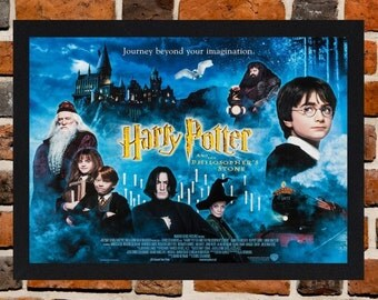 Framed Harry Potter and the Philosopher's Stone Movie / Film Poster A3 Size Mounted In Black Or White Frame