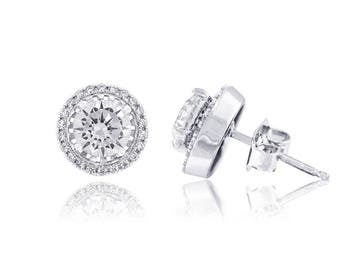 925 Sterling Silver Swarovski 1.82 CTTW Halo Stud Earrings (E-66)