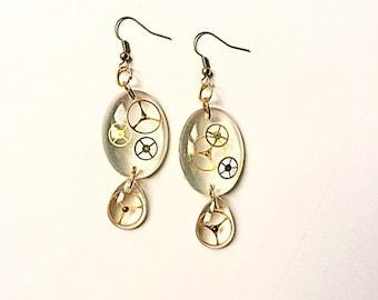 Earrings resin and gears