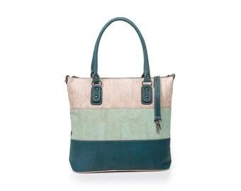 Cork bag Cork handbag Corkbag Cork handbag green / light green / beige