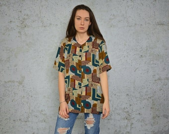 Abstract SHIRT vintage blouse Boho Bohemian gypsy retro geometric print button up shoulder pads 1980's short sleeve