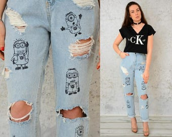 High waisted jeans Mom Distressed Ripped Minions Destroyed pants Straight fit handpainted vintage acid wash hipster 1990's M Medium size