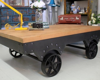 Industrial Cast Iron Cart Coffee Table on Wheels with Elm Top