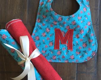 Baby Girl Bib, Baby Girl Burp Cloth, Baby Girl Gift Set Burp Cloth & Bib,  Baby Girl Shower Gift , Toddler Girl Bib, Monogram