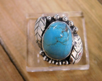 Vintage Turquoise Sterling Silver Feather Ring Size 7.5