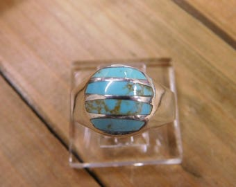 Sterling Silver Block Turquoise Inlay Men's Ring Size 14.5
