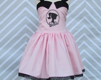 Girls Classic Classy Vintage Retro 50's Pink Barbie Doll Birthday Party Pageant Dress