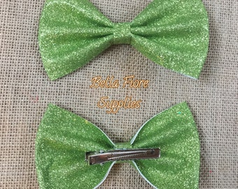 Lime Green Glitter Bow with Clip- 5 Inch-  Large Glitter Bow- Glitter Hair Clip- Wholesale Hair Clips