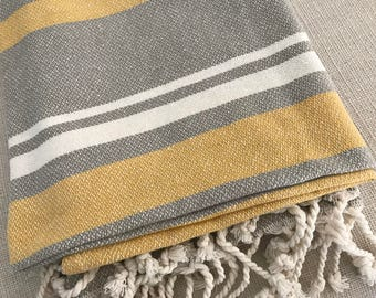India Handmade Soft Blanket Throw with tassels. Luxury cotton product. Striped elegant towel beach style.