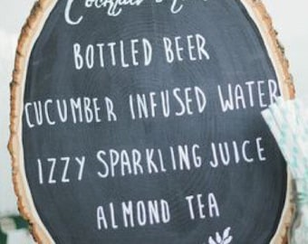 Rustic Chalkboard wood slice sign