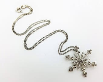 """Sterling Silver Snowflake Pendant Necklace with 16"""" Chain"""