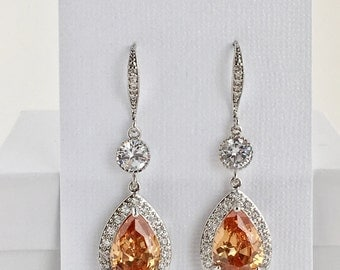 Champagne Bridal Earrings Peach Crystal Earrings Champagne Cubic Zirconia Earrings Peach Crystal Jewelry Wedding Peach Bridesmaid Jewelry