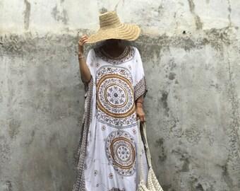 Morocco kaftan,Dress ,bohemian,hipppie ,festival ,oversized, long dress beach resort Wear, oversized ,caftan boho, white ,sequin