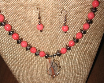 Painted Wyoming Stone....Pretty Orange/Peach Coral Stone With Glass Bead Necklace and Earring Set