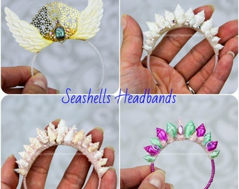 Scarabeus & Seashells headband crown for BJD doll, SD, MSD, YoSD, tiny