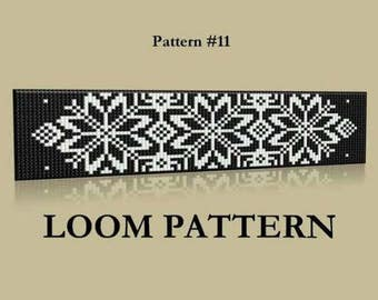 Seed Bead Loom Pattern #11- 12 - Two Color Palettes - Baltic Lithuanian Ornament Beaded Bracelet Pattern - Black White Grey Loom Pattern