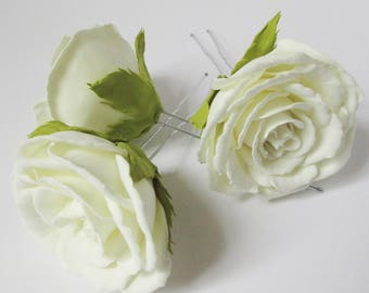 White Garden Rose Hair bridal hair pin white rose wedding rose hair pin flower