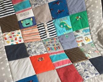 Keepsake Memory Quilt 100x120cm, Patchwork Quilt, Memory Blanket, Baby Clothes Blanket, Baby Blanket