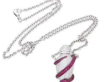 Theo Fennell Ruby and Diamond Ampoule Snake Pendant