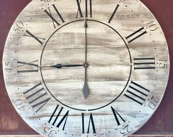 """Rochford oversized vintage style painted wood wall hanging clock 36"""" round with Roman numerals, handmade"""
