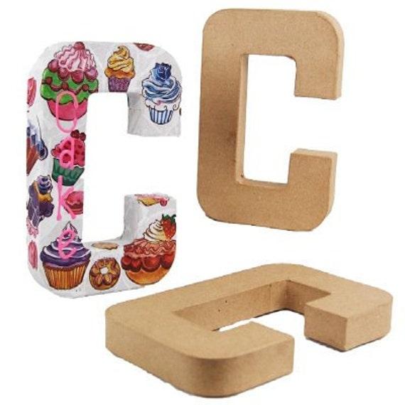 Papier mache alphabet letter c 8 5 free standing for Alphabet letters cardboard