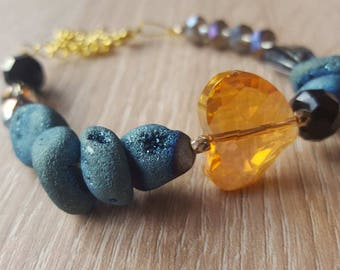 Orange heart bracelet with blue Titanium !!!!