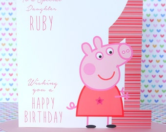 Personalised Handmade Peppa Pig Birthday Card 1st,2nd,3rd,4th Daughter, Niece