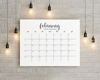 2017-2018 Planner Big Wall Calendar Printable 18 Months instant gift Modern Calligraphic Horizontal Wall Desk Letter Size 8,5 x 11 in/A1