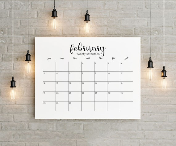 2017 2018 Planner Big Wall Calendar Printable 18 Months
