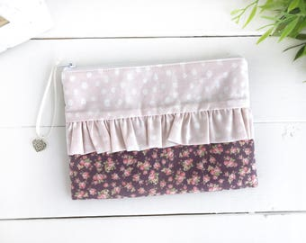 Ruffle zipper pouch, Floral pencil case, Pink makeup bag, Cosmetic pouch, Women's accessories, Gift for her, School supplies