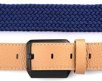 Leather Belt, Mens Leather Belt, Womens Leather Belt, Genuine Leather Belt, Elastic Webbing Belt, Brown Leather Belt, Navy Mens Belt