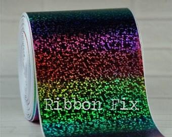 "3 inch (3"") White Rainbow Hologram Foil Print Grosgrain Ribbon - Cheer Bows - Cheerleader Ribbons - Pride - ROYGBIV - Boutique Bow - Glitter"
