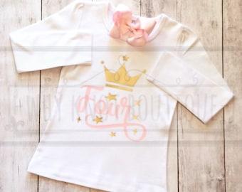 Girls birthday shirt Girls princess birthday shirt Girls Crown Age Shirt First Second Third Fourth Fifth Girls birthday shirt Raglan