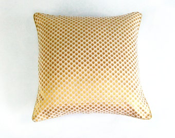 White and Gold Pillow | Polka Dot Sparkle Pillow | Metallic Gold Pillow | Plush Throw Pillow | Anniversary Gift | Metallic Gold Cushion |