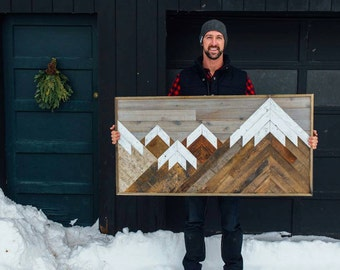 Reclaimed Mountain Wall Art 2x4