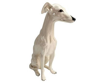 Whippet, Italian Hand-Decorated Ceramic Whippet