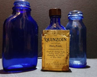 SALE Antique Cobalt Blue Bottles - Set of 3