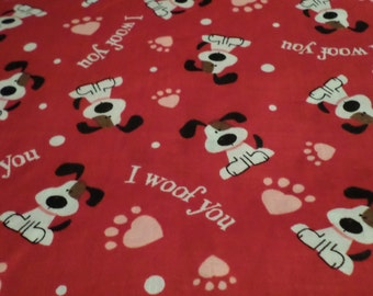 Cute Puppy Valentines Fabric, I woof you,  By the Half Yard, 100% Cotton