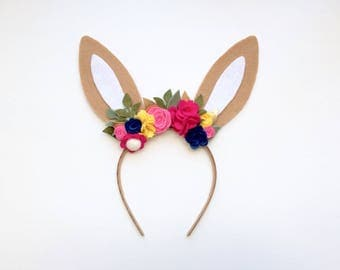 Felt bunny rabbit ear headband - spring flower mix - fuchsia, pink, yellow, blue with gold and green leaves