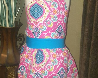 tie back dress, hot pink dress, cross back dress, open back dress